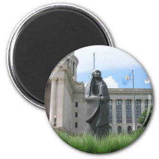Statue At Oklahoma State Capital 2 Inch Round Magnet