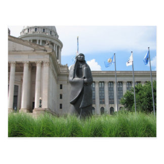 Statue At Oklahoma State Capital Postcard