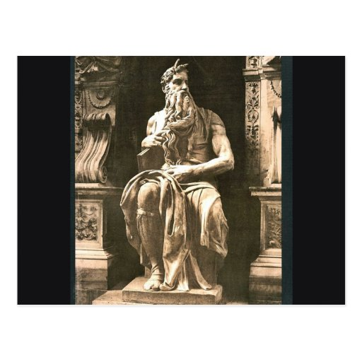 "Statue by Michael Angelo, ""The Seated Moses"", Rome Postcards"