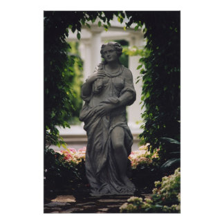 Statue framed by greenery poster