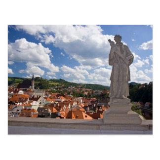 Statue In The Castle With A View On Cesky Krumlov Postcard