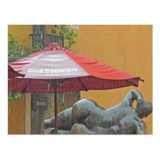 Statue in the Rain in Colombia Postcard