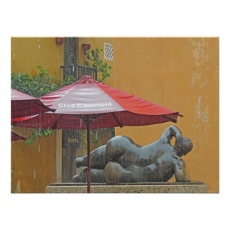 Statue in the Rain in Colombia Poster