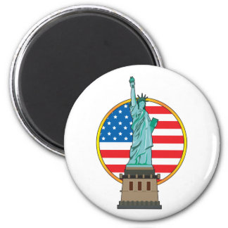Statue Liberty Flag 2 Inch Round Magnet