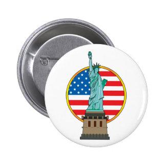 Statue Liberty Flag Button