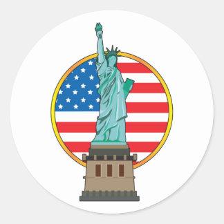 Statue Liberty Flag Classic Round Sticker