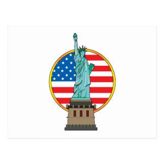 Statue Liberty Flag Postcard