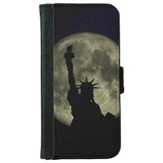 Statue Liberty New York Moon Night Sky Stars Art Wallet Phone Case For iPhone 6/6s