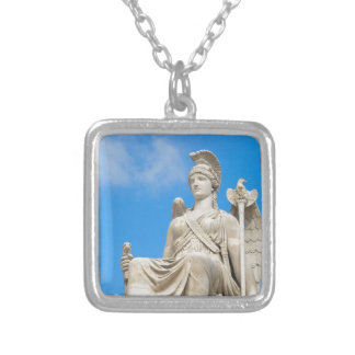 Statue of a queen silver plated necklace