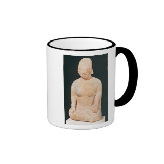 Statue of a seated woman ringer coffee mug