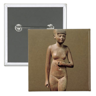 Statue of a young servant girl (wood) pinback button