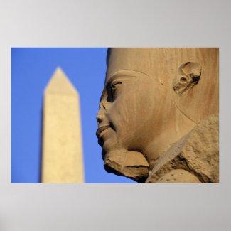Statue of Amun-Re with Obelisk, Karnak (Egypt) print