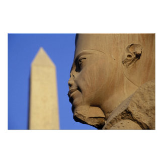 Statue of Amun-Re with Obelisk, Karnak (Egypt) Poster