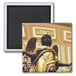 Statue of angel in gold 2 inch square magnet