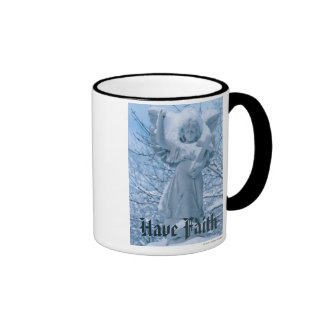Statue of angel in outdoors in winter ringer mug