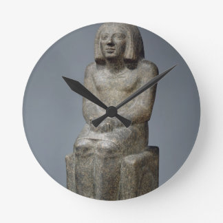 Statue of Ankh, Priest of Horus, Early Dynastic Pe Round Wall Clocks