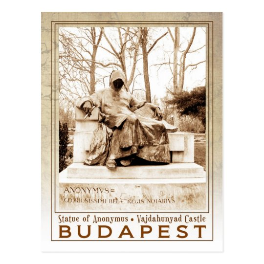 Statue of Anonymus at Vajdahunyad Castle, Budapest Postcard