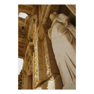 Statue Of Arete At The Celsus Library,  Ephesus Poster