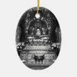 Statue of Buddha from a Chinese Buddhist Temple Double-Sided Oval Ceramic Christmas Ornament