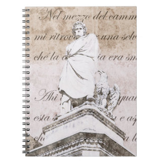 Statue of dante Allighieri with the Divine Comedy Notebook