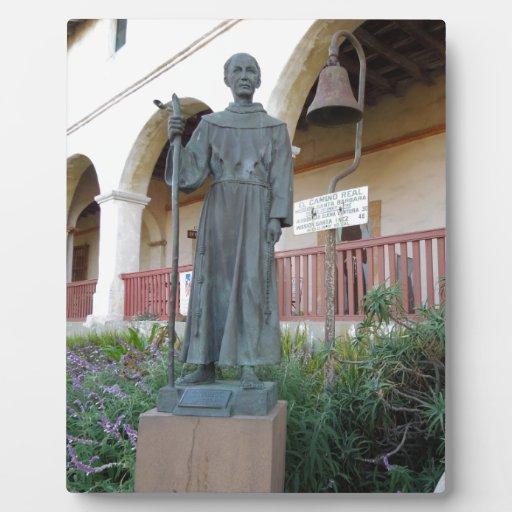 Statue of Father Serra at Santa Barbara Mission Plaque