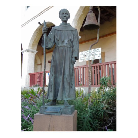 Statue of Father Serra at Santa Barbara Mission Postcard