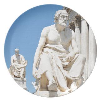 Statue of Greek philosopher Melamine Plate