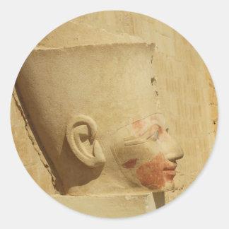 statue of  Hatshepsut - Female Pharaoh of Egypt Classic Round Sticker