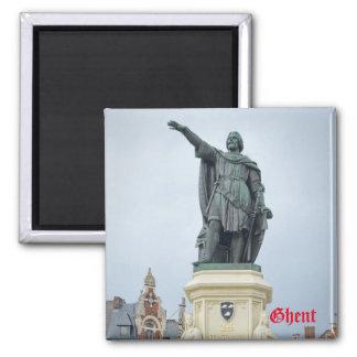 Statue of Jacob van Artevelde in Ghent, Belgium 2 Inch Square Magnet