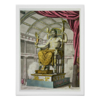 Statue of Jupiter in a Temple from Costumi dei R Posters