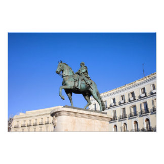 Statue of King Charles III in Madrid Art Photo