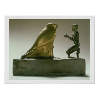 Statue of King Taharqa worshipping the falcon-god Poster