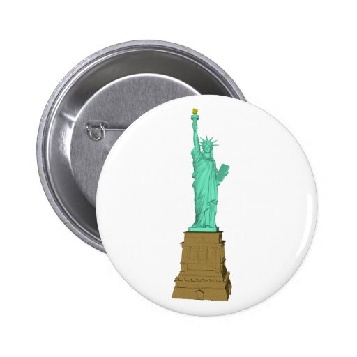 Statue of Liberty: 3D Model: Pinback Buttons