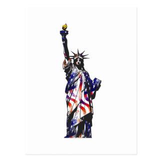 Statue Of Liberty American USA National Flag Indep Postcard
