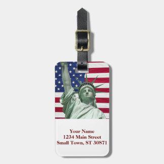 Statue of Liberty and American Flag Bag Tag