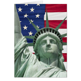 Statue of Liberty and American Flag Card