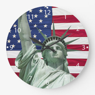 Statue of Liberty and American Flag Large Clock