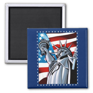 Statue of Liberty and American Flag Refrigerator Magnet
