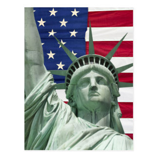 Statue of Liberty and American Flag Postcard