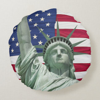 Statue of Liberty and American Flag Round Pillow