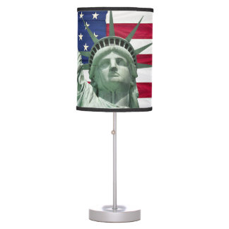 Statue of Liberty and American Flag Table Lamp