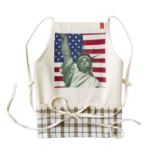 33b13d62b3a7 Statue of Liberty and American Flag Zazzle HEART Apron