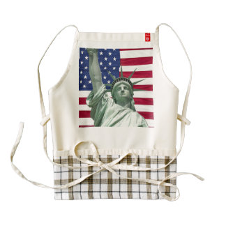 Statue of Liberty and American Flag Zazzle HEART Apron