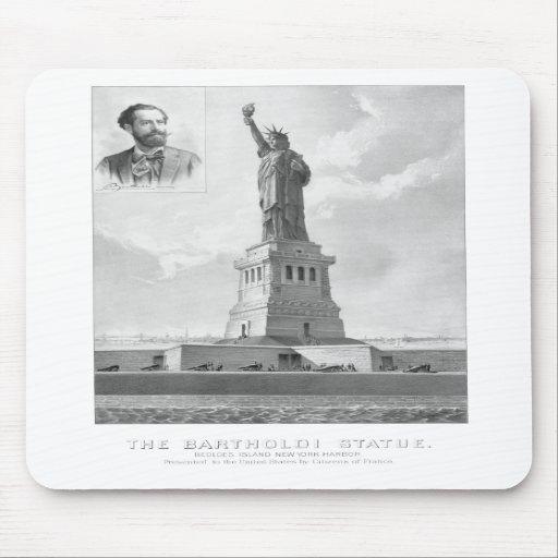 Statue of Liberty And Bartholdi Portrait Mouse Pad