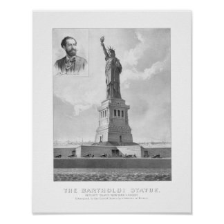 Statue of Liberty And Bartholdi Portrait Poster