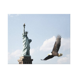 Statue Of Liberty and Eagle Canvas Print