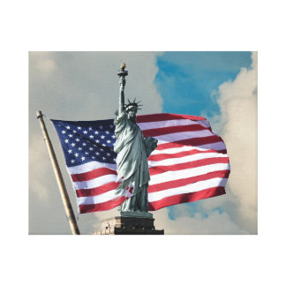 Statue of Liberty And Flag Canvas Print