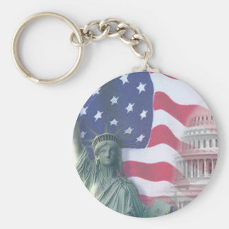 statue of liberty and flag key chain