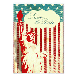 Statue of Liberty and Flag Wedding Save the Date Card