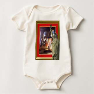 statue of liberty and liberty bell baby bodysuit